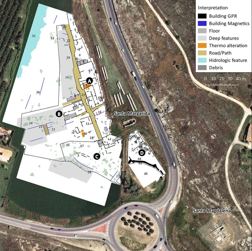 Planta interpretativa de les anomalies detectades en la prospecció geofísica del sector de Santa Margarida, amb la zonificació i individualització de les principals estructures identificades (SOT Prospecció Arqueològica).