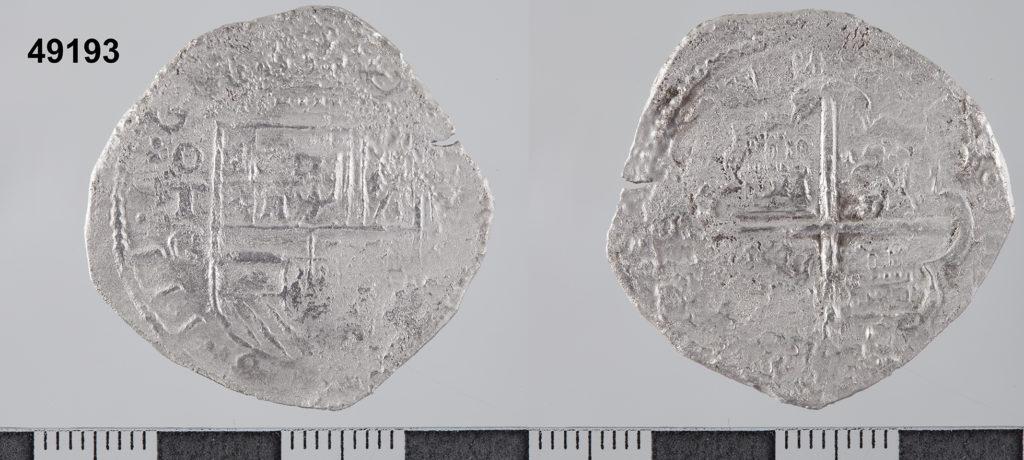 Moneda macuquina de 2 rals de plata de Felip III. Seca de Toledo. Assajador Melchor Rodríguez Castillo