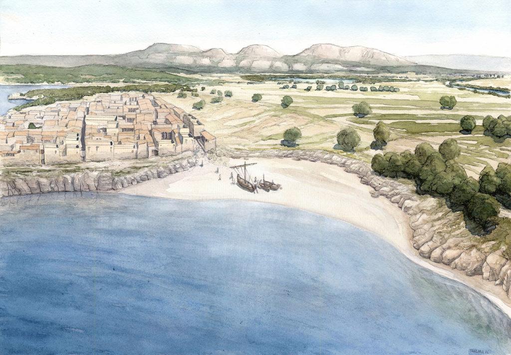 Dibuix de reconstrucció de la part nord de la ciutat grega i de la connexió amb la zona del port natural (autor: Jordi Sagrera).
