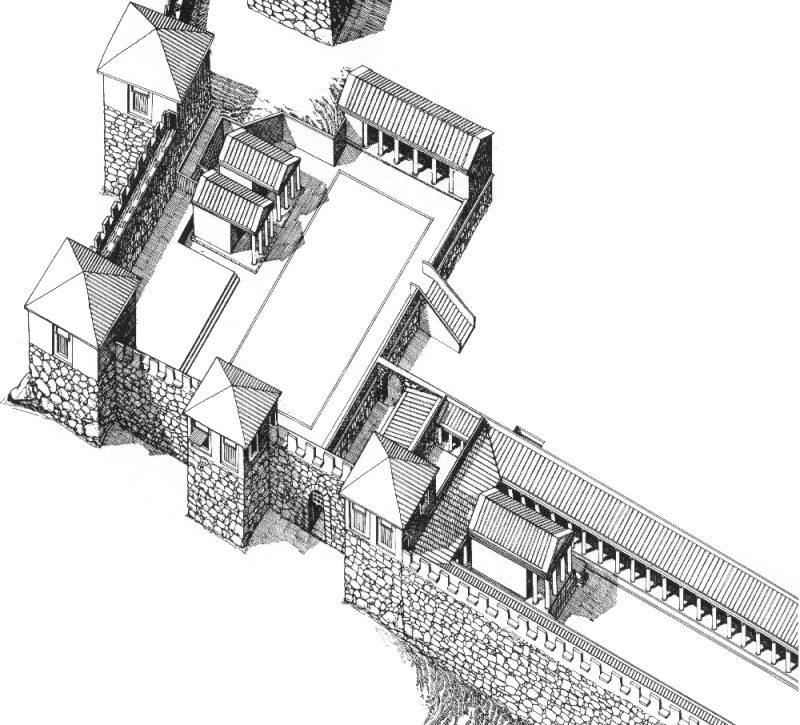 Figura 14. Dibuix en volum que restitueix l'aspecte del sector meridional de la ciutat grega (Dibuix: Julio Ariza. Arxiu MAC-Empúries).