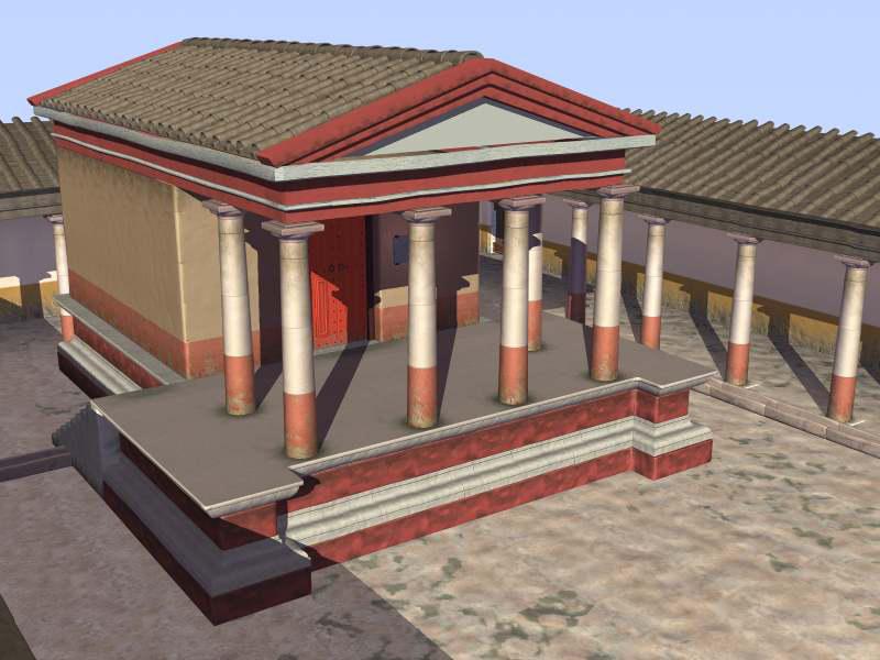 Figura 15. Proposta de restitució virtual del temple voltat del seu pòrtic (Infografia: Tomàs Bases. Arxiu MAC-Empúries).