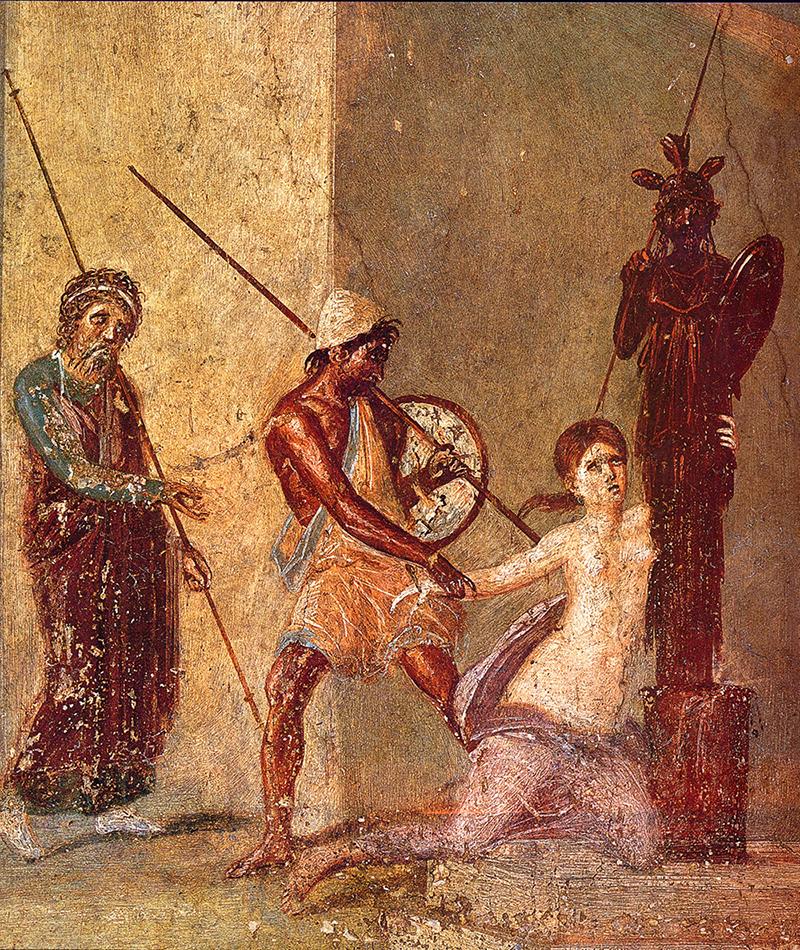 Figura 9. Fresc romà de l'atri de la Casa del Menandre de Pompeia. Representa l'escena del saqueig final de Troia pels aqueus i hi apareix Cassandra, que s'agafa a un xoanon de fusta amb la imatge d'Atenea, mentre Àiax el Gran l'estira per raptar-la.