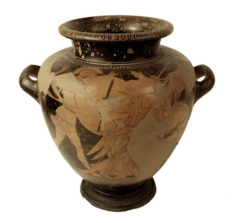 Estamne (contenidor de vi) de ceràmica àtica de figures roges, del Pintor de Providence (460-450 aC), procedent d'Empúries, amb una escena mitològica de la Guerra de Troia (la mort d'Hèctor), de les col·leccions del MAC-Barcelona (Fitxa CIG-18, Arxiu: MAC-BCN).