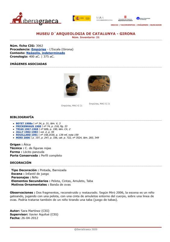 Fitxa documental de la lècit de ceràmica àtica de figures roges conservat al MAC-Girona amb la representació d'un nen jugant (Fitxa CIG-3062).