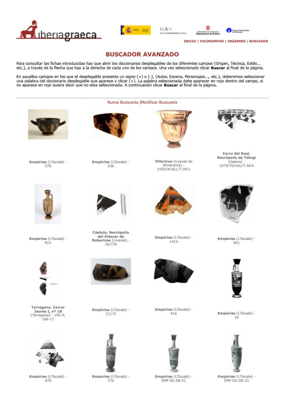 """Pantalla amb els exemplars de ceràmica àtica en els quals hi ha representada una lira després de fer-ne la cerca amb el cercador d'""""Elements secundaris""""."""