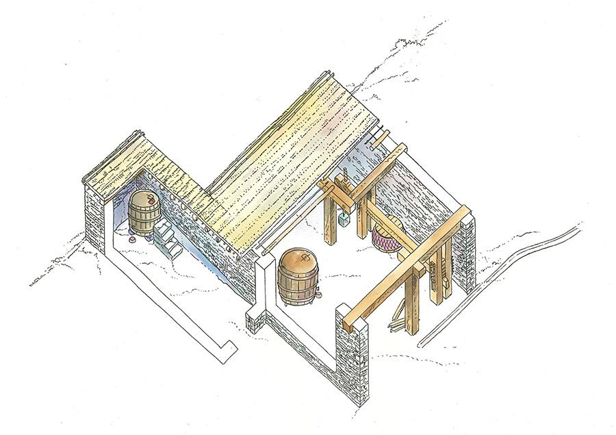 Figura 4. Recreació del celler de l'oest de la cisterna (Il·lustració històrica Francesc Riart, Arxiu MAC-Olèrdola).