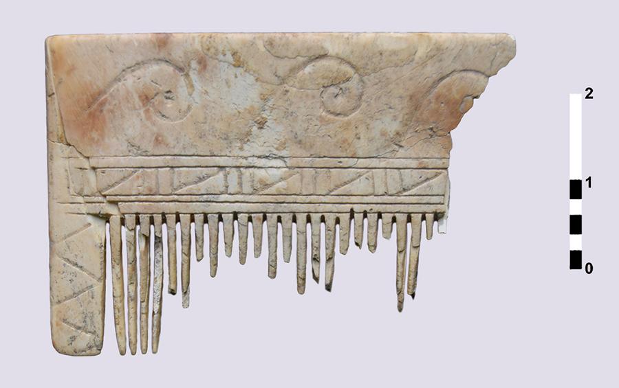 Figura 6. Detall del fragment de pinta elaborada amb ivori d'elefant (Arxiu MAC-Ullastret | Autora: Marta Blasco)