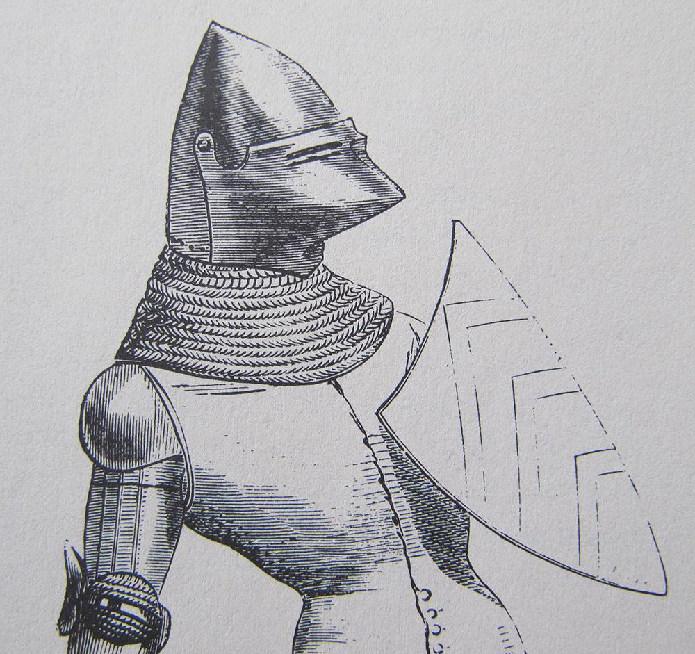 Figura 6. Il·lustració d'un bacinet segons Viollet le Duc de l'obra Encyclopedie médievale
