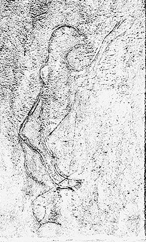 Hornos de la Peña (San Felices de Buelna, Santander). Gravat antropomorf. MAC. Arxiu Històric i Fotogràfic