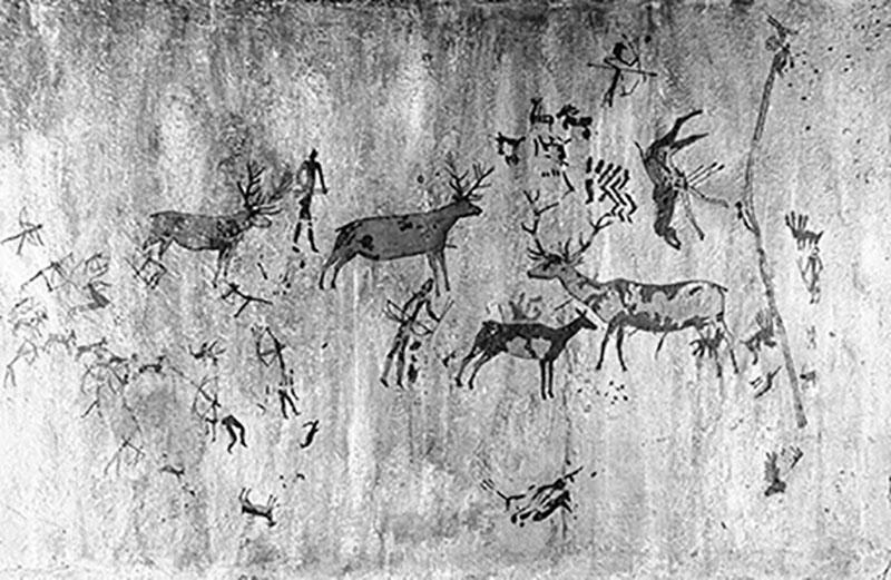 L'Aranya (Bicorp, València). Plafó de les figures, a la dreta escena de recol·lecció. Obra desapareguda. MAC. Arxiu Històric i Fotogràfic