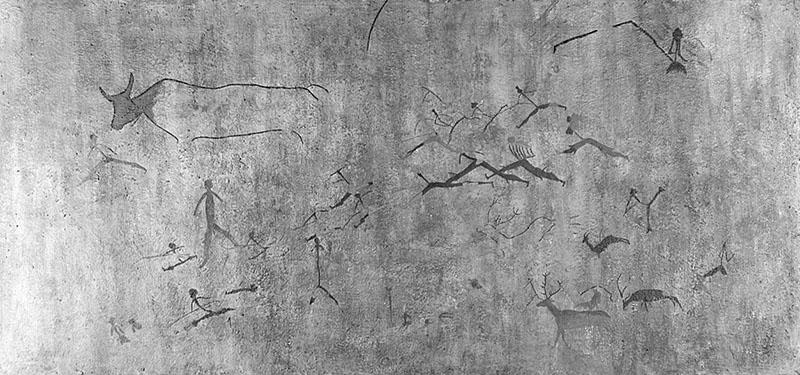 Val del Charco del Agua Amarga (Alcañiz, Terol). Escena de cacera. Obra desapareguda. MAC. Arxiu Històric i Fotogràfic