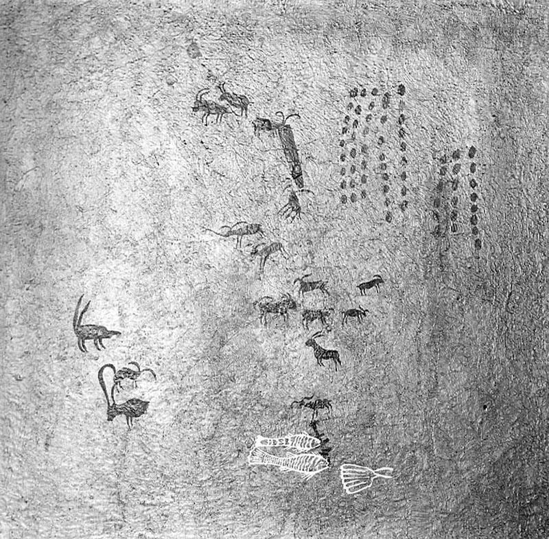 Las Batuecas (Salamanca). Plafó amb representació de cabres, peixos, punts i altres figures. Obra desapareguda. MAC. Arxiu Històric i Fotogràfic