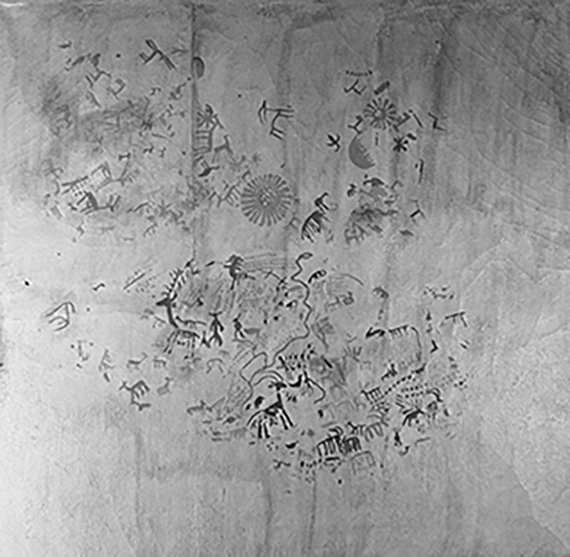 Tajo de las Figuras (Laguna de la Janda, Cadis). Composició d'animals i figures humanes esquematitzades, i altres figures. Obra desapareguda. MAC. Arxiu Històric i Fotogràfic