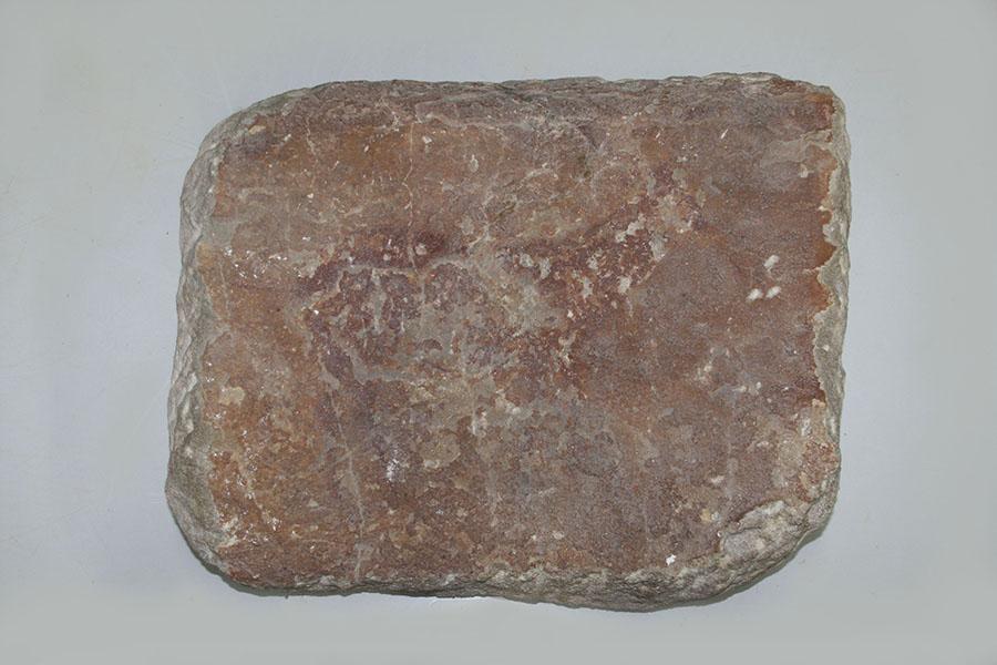 Figura 1. Pieza 1 antes de la intervención, en la que está representada la figura de un ciervo de estilo levantino realizado con pigmento rojo.