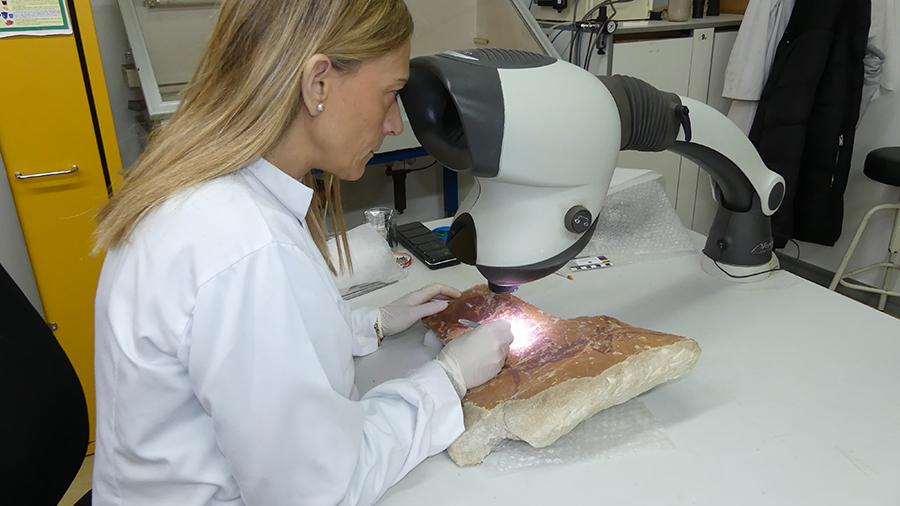 Figura 13. Uso del microscopio Mantis Compact, que permite hacer una inspección visual de la superficie en 3D, mediante la cual se alcanza mayor precisión durante el proceso de limpieza.