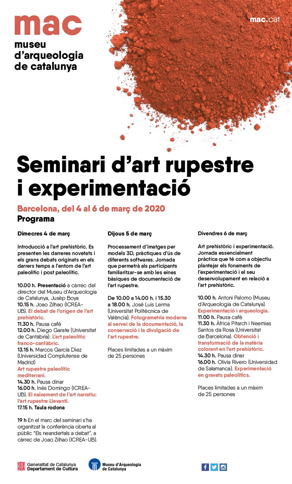 Figura 1. Programa del Seminari d'art rupestre i experimentació