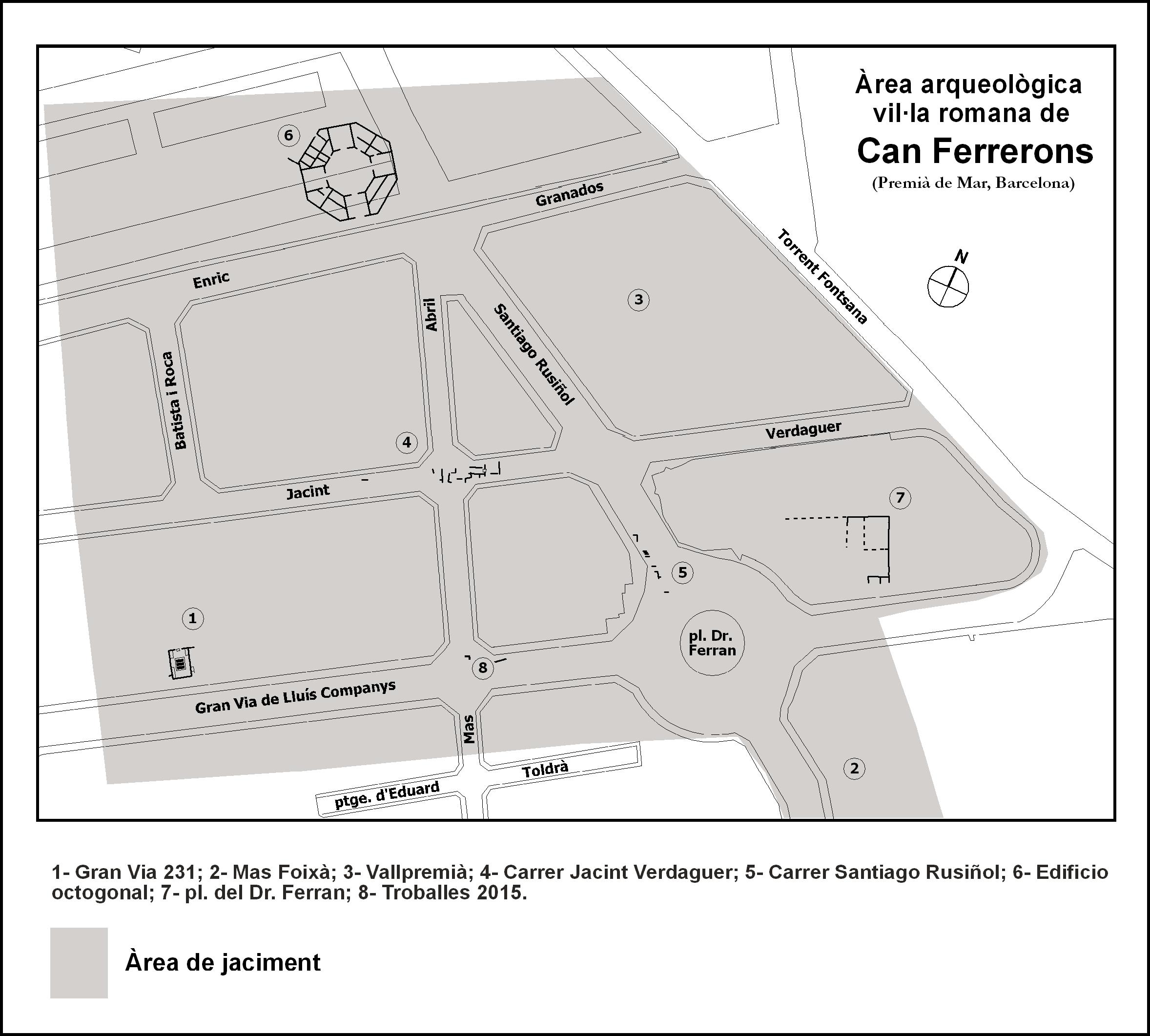 Fig. 23. Àrea calculada de la vil·la de la Gran Via - Can Ferrerons (ca. 75 aC - 650 dC)