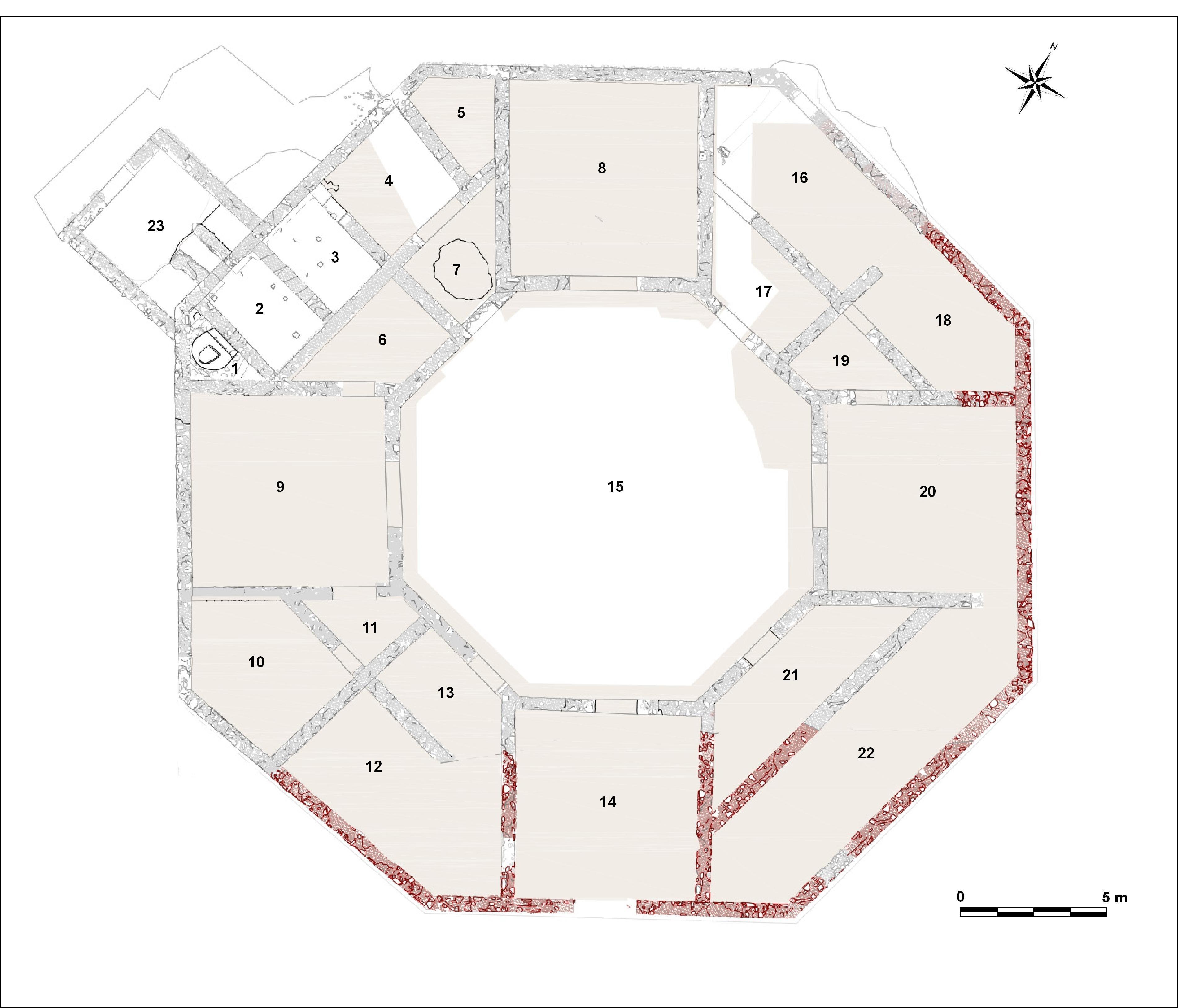 Fig. 24. Planta completa de l'edifici octogonal. En vermell les àrees excavades els anys 2018 i 2019