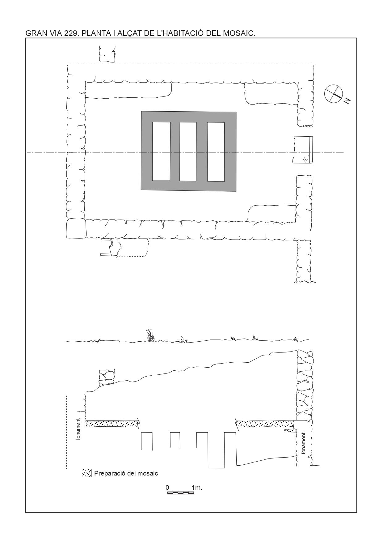 Fig. 3. Planta i alçat de les estructures descobertes el 1969. Segons Ricard Batista (modificat)