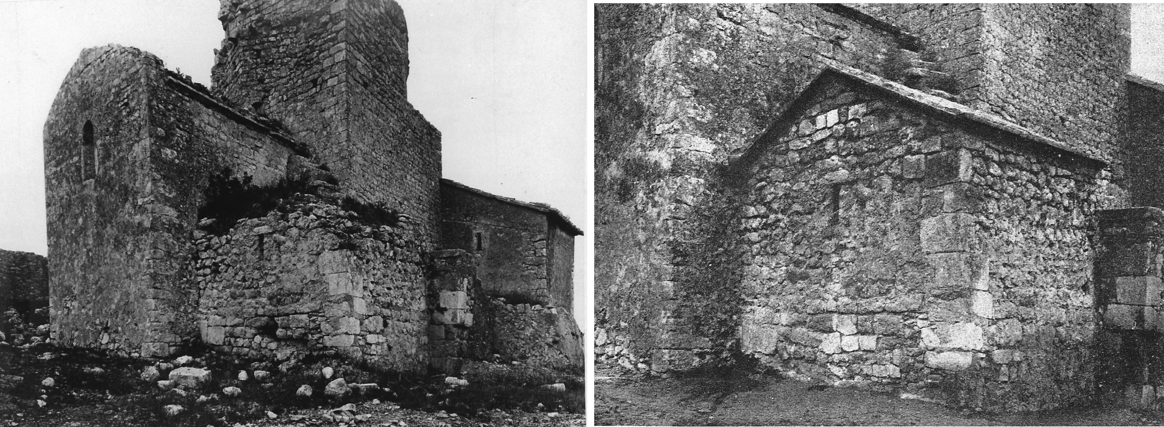 Fig. 11. Capçaleres preromànica i romànica de Sant Miquel abans i després de la intervenció, 1924 i 1926. Arxiu Històric de la Diputació de Barcelona