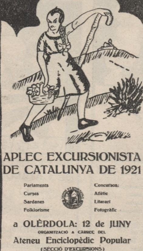 Fig. 14. Un dels sis cartells anunciadors de l'Aplec dels Centres Excursionistes. Revista Penedès, 1921, número especial dedicat a l'aplec a Olèrdola