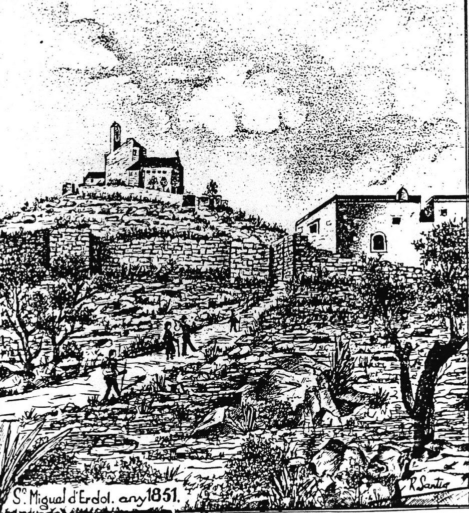 """Fig. 3. Gravat de R. Sania, """"St. Miquel d'Erdol"""", amb caminants dirigint-se al recinte, 1851. Arxiu MAC-Olèrdola (MO.OL.00056)"""