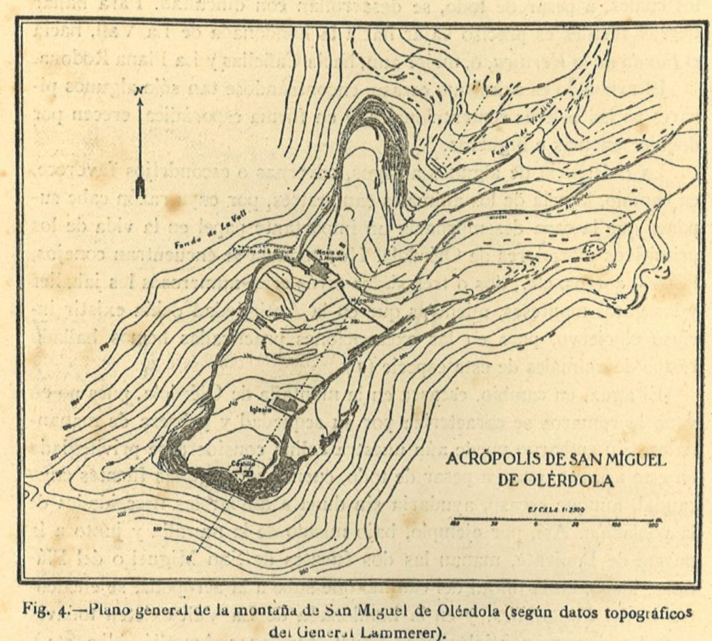 Fig. 4. Plànol topogràfic d'Adolf Lammerer, 1920. Publicat a A. Ferrer Soler, 1949